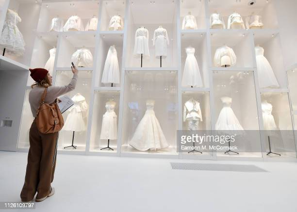 """Designer pieces on display during the """"Christian Dior: Designer of Dreams"""" exhibition at Victoria & Albert Museum on January 30, 2019 in London,..."""