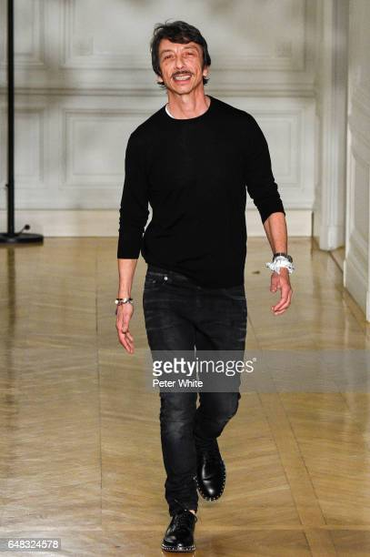Designer Pierpaolo Piccioli is seen on the runway during the Valentino show as part of the Paris Fashion Week Womenswear Fall/Winter 2017/2018 on...