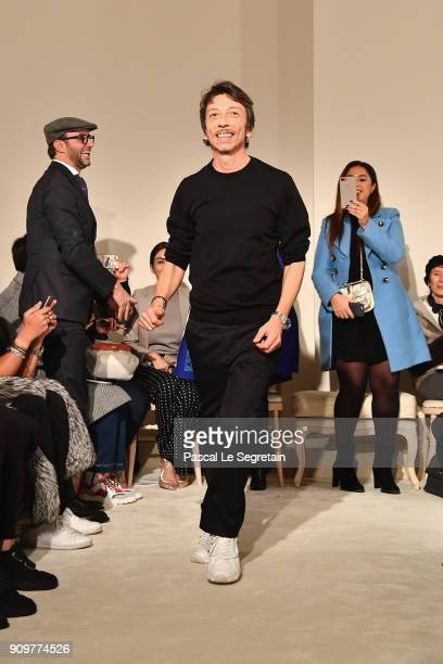 Designer Pierpaolo Piccioli is seen on the runway during the Valentino Spring Summer 2018 show as part of Paris Fashion Week on January 24 2018 in...