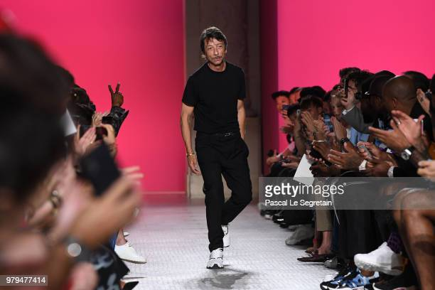 Designer Pierpaolo Piccioli walks the runway during the Valentino Menswear Spring/Summer 2019 show as part of Paris Fashion Week on June 20 2018 in...