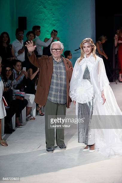 Designer Pierre Cardin and Wedding Dress Model walk the Runway during the Pierre Cardin Collection At Gare de Bonnieux as part of Paris Fashion Week...