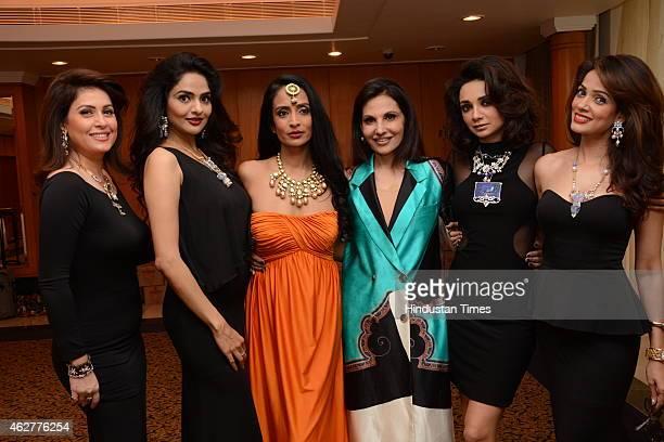 Designer Poonam Soni flanked by Amrita Raichand Madhoo Shah Suchitra Pillai Reshma Bombaywala Ira Dubey and Vidya Malavade during her glittering...
