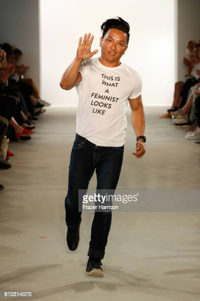 Designer Prabal Gurung acknowledges the applause of the audience at the Prabal Gurung show during the MercedesBenz Fashion Week Berlin Spring/Summer...