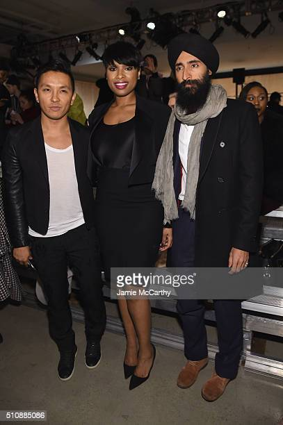 Designer Prabal Gurung actress Jennifer Hudson and designer Waris Ahluwalia attend the DKNY Women's Fall 2016 fashion show during New York Fashion...