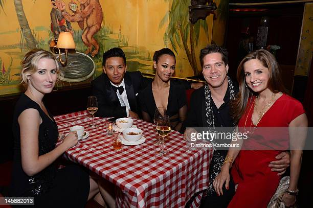 Designer Prabal Gurung, actress Zoe Saldana and Andy Hilfiger attend 2012 CFDA Awards Dinner hosted by Tommy Hilfiger at Monkey Bar on June 4, 2012...