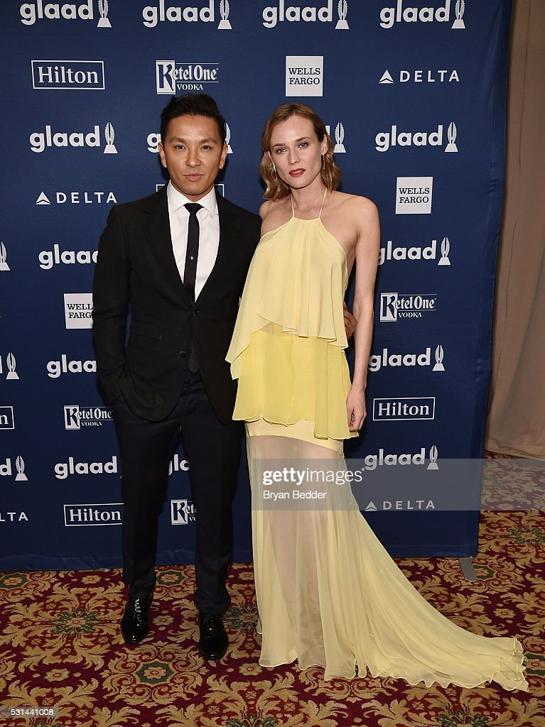 Designer Prabal Gurung (L) and actress Diane Kruger attend the 27th Annual GLAAD Media Awards in New York on May 14, 2016 in New York City.