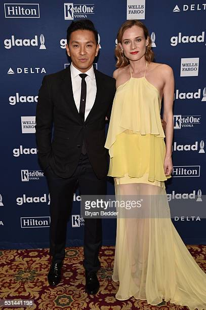 Designer Prabal Gurung and actress Diane Kruger attend the 27th Annual GLAAD Media Awards in New York on May 14 2016 in New York City