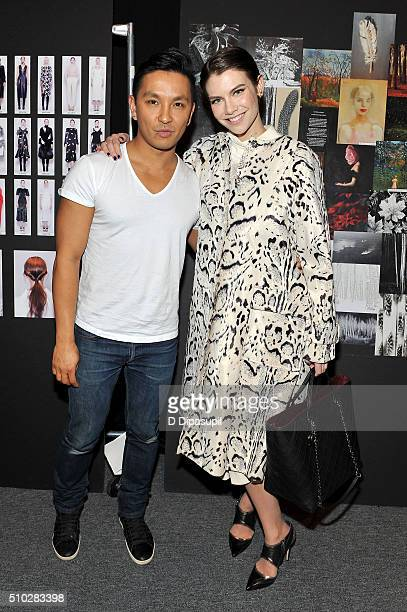 Designer Prabal Gurung and actress Lauren Cohan pose backstage at the Prabal Gurung Fall 2016 fashion show during New York Fashion Week The Shows at...