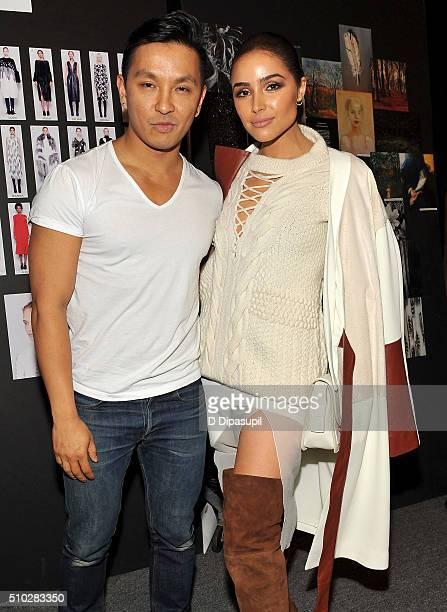 Designer Prabal Gurung and actress Olivia Culpo poses backstage at the Prabal Gurung Fall 2016 fashion show during New York Fashion Week The Shows at...