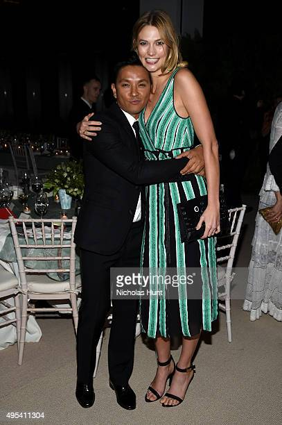 Designer Prabal Gurung and model Karlie Kloss attend the 12th annual CFDA/Vogue Fashion Fund Awards at Spring Studios on November 2 2015 in New York...
