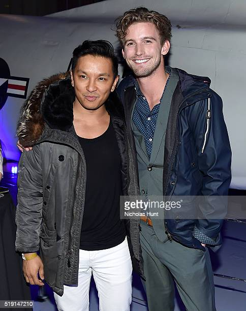 Designer Prabal Gurung and model RJ King attend the Jeffrey Fashion Cares 13th Annual Fashion Fundraiser at the Intrepid SeaAirSpace Museum on April...