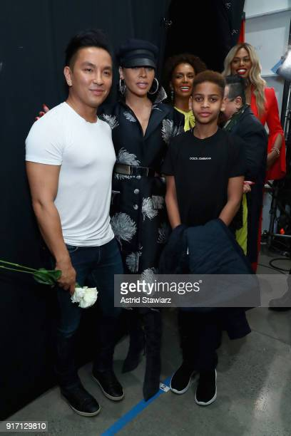 Designer Prabal Gurung La La Anthony and Kiyan Carmelo Anthony backstage for Prabal Gurung during New York Fashion Week The Shows at Gallery I at...