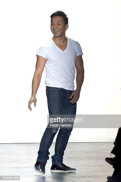 Designer Prabal Gurung poses on the runway wearing Prabal Gurung Fall 2016 during New York Fashion Week The Shows at The Arc Skylight at Moynihan...