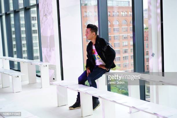 Designer Prabal Gurung sits down to watch the rehearsal at the Prabal Gurung fashion show during New York Fashion Week at Spring Studios on September...