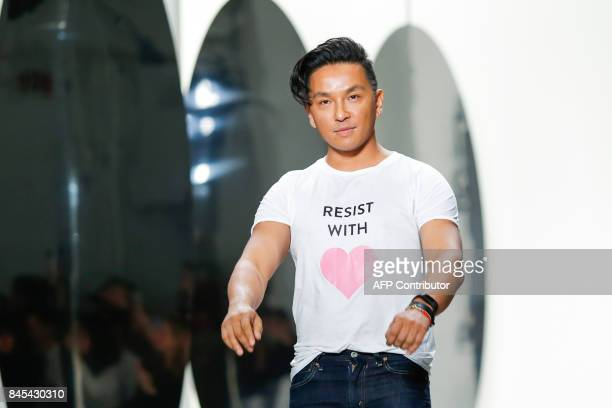 Designer Prabal Gurung walks the runway at the end of the SS18 show during New York Fashion Week on September 10 2017 in New York / AFP PHOTO /...