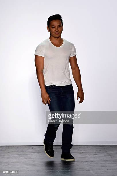 Designer Prabal Gurung walks the runway wearing Prabal Gurung Spring 2016 during New York Fashion Week The Shows at The Arc Skylight at Moynihan...
