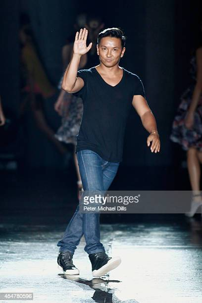 Designer Prabal Gurung walks the runway with TRESemme at the Prabal Gurung fashion show during MercedesBenz Fashion Week Spring 2015 at Skylight at...