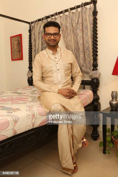 Designer Pranay Baidya poses during a lunch party on the occasion of Bengali New Year hosted by him at D85 Dron Marg Defence Colony on April 15 2018...