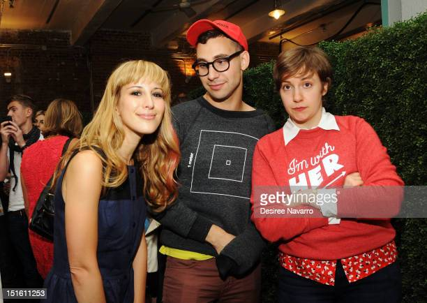 Designer Rachel Antonoff poses with her brother Jack Antonoff and Lena Dunham at the Rachel Antonoff Spring 2013 presentation at the Drive In Studios...