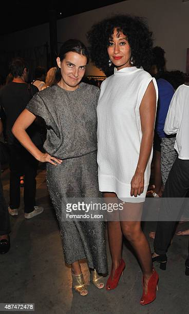 Designer Rachel Comey and Tracee Ellis Ross photographed backstage during the Rachel Comey fashion show at the Pioneer Works Center for Arts and...