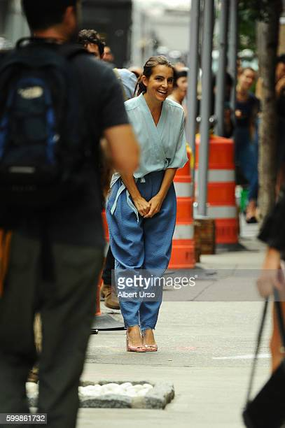 Designer Rachel Comey bows to the audience at the Rachel Comey fashion show during New York Fashion Week September 2016 on September 7 2016 in New...