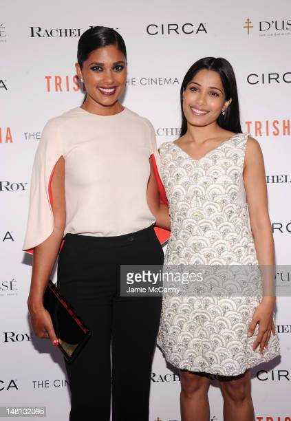 Designer Rachel Roy and actress Freida Pinto attend The Cinema Society With Rachel Roy Circa Host A Screening Of Trishna at IFC Center on July 10...