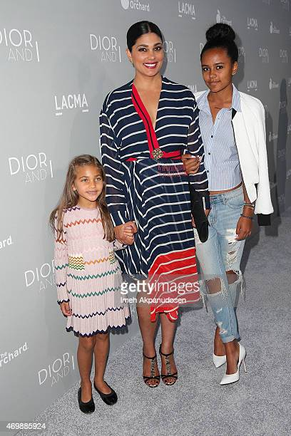 Designer Rachel Roy with daughters Ava Dash and Tallulah Ruth Dash attends the premiere of The Orchard's 'DIOR I' at LACMA on April 15 2015 in Los...