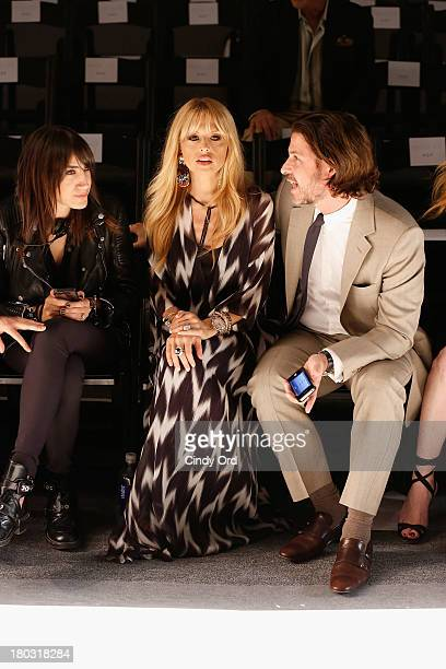 Designer Rachel Zoe and Rodger Berman watch rehearsal for the Rachel Zoe fashion show during MercedesBenz Fashion Week Spring 2014 at The Studio at...