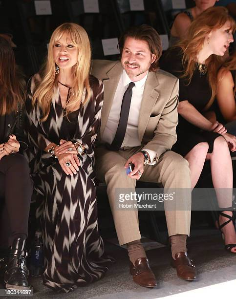 Designer Rachel Zoe and Rodger Berman watch rehearsal for the Rachel Zoe show during Spring 2014 MercedesBenz Fashion Week at The Studio at Lincoln...