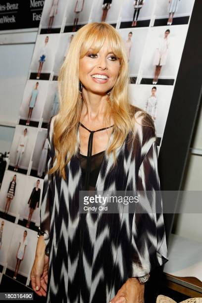 Designer Rachel Zoe prepares backstage at the Rachel Zoe fashion show during MercedesBenz Fashion Week Spring 2014 at The Studio at Lincoln Center on...