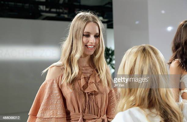 Designer Rachel Zoe prepares models at the Rachel Zoe Spring 2016 presentation during New York Fashion Week The Shows at The Space Skylight at...