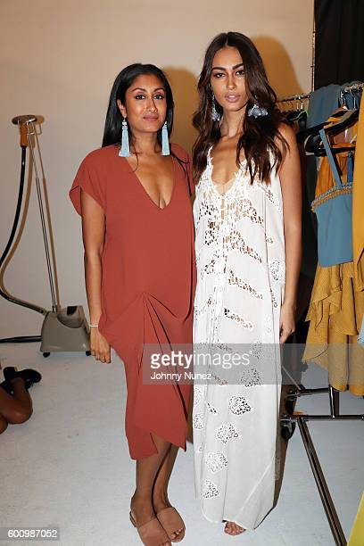 Designer Radhika PereraHernandez and model Adrola Dushi pose backstage at Harlem's Fashion Row during New York Fashion Week at Pier 59 on September 8...