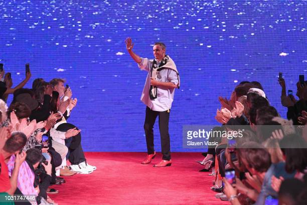 Designer Raf Simmons walks the runway for Calvin Klein Collection during New York Fashion Week at New York Stock Exchange on September 11 2018 in New...