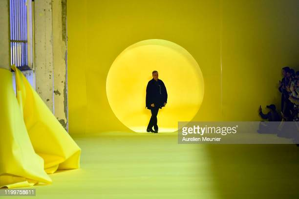 Designer Raf Simons acknowledges the audience during the Raf Simons Menswear Fall/Winter 2020-2021 show as part of Paris Fashion Week on January 15,...