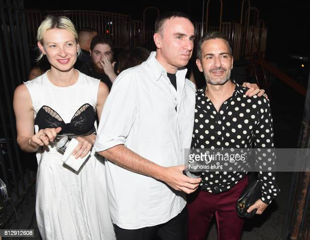 Designer Raf Simons and Marc Jacobs attend the Raf Simons Front Row/Backstage at NYFW Men's July 2017 on July 11 2017 in New York City