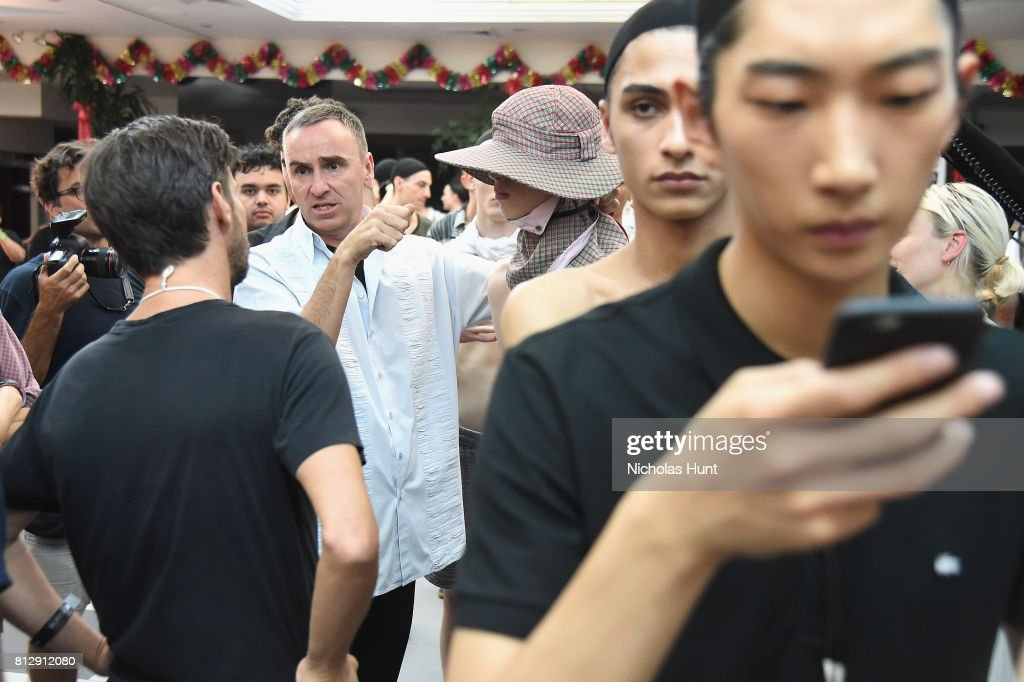 Designer Raf Simons attends the Raf Simons - Front Row/Backstage at
