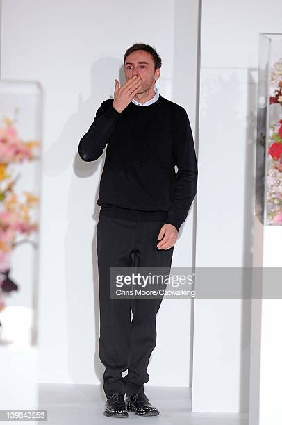 Designer Raf Simons on the runway at the Jil Sander Autumn Winter 2012 fashion show during Milan Fashion Week on February 25, 2012 in Milan, Italy.