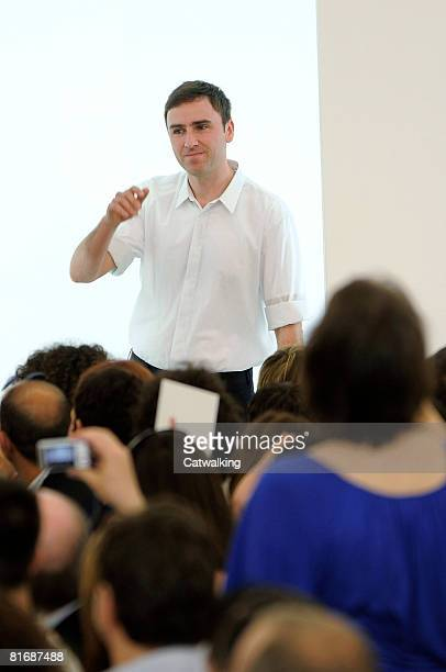 Designer Raf Simons walks the runway after the Jil Sander Menswear Spring/Summer 2009 collection during Milan Fashion Week on May 21,2008 in...
