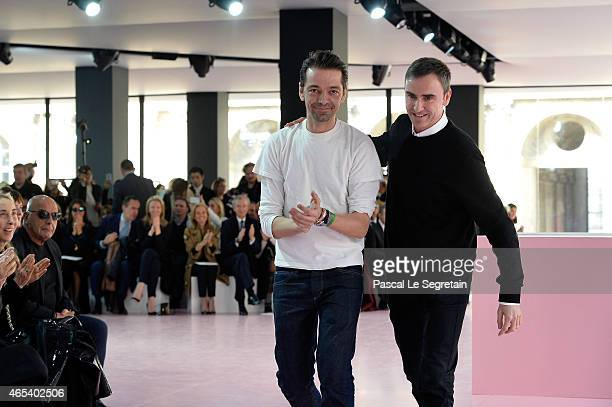 Designer Raf Simons walks the runway during the Christian Dior show as part of the Paris Fashion Week Womenswear Fall/Winter 2015/2016 on March 6...