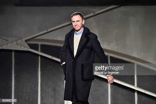 Designer Raf Simons walks the runway during the Raf Simons Menswear Fall/Winter 20162017 show as part of Paris Fashion Week on January 20 2016 in...
