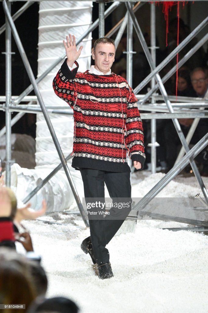 Designer Raf Simons walks the runway for Calvin Klein Collection during New York Fashion Week on February 13, 2018 in New York City.