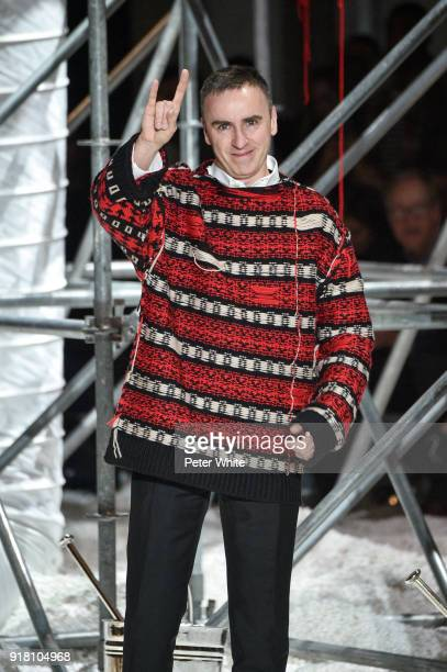 Designer Raf Simons walks the runway for Calvin Klein Collection during New York Fashion Week on February 13 2018 in New York City