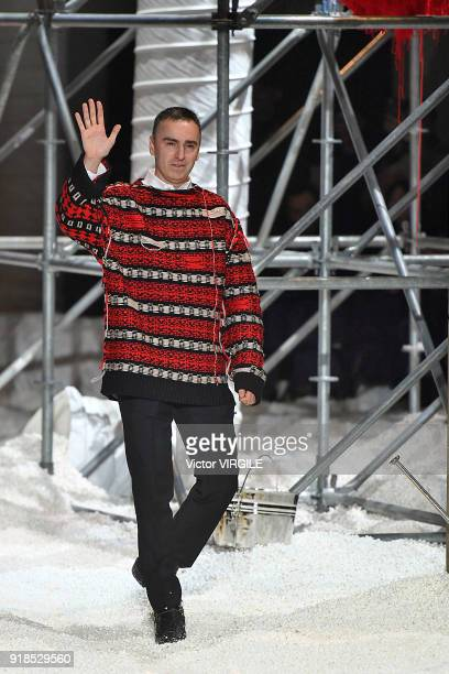 Designer Raf Simons walks the runway for Calvin Klein Collection Ready to Wear Fall/Winter 2018-2019 fashion show during New York Fashion Week on...