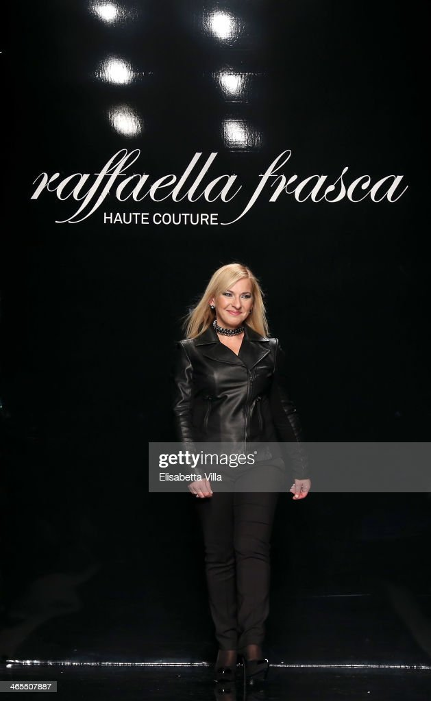 Designer Raffaella Frasca walks the runway during Raffaella Frasca S/S 2014 Italian Haute Couture colletion fashion show as part of AltaRoma AltaModa Fashion Week at Santo Spirito In Sassia on January 27, 2014 in Rome, Italy.