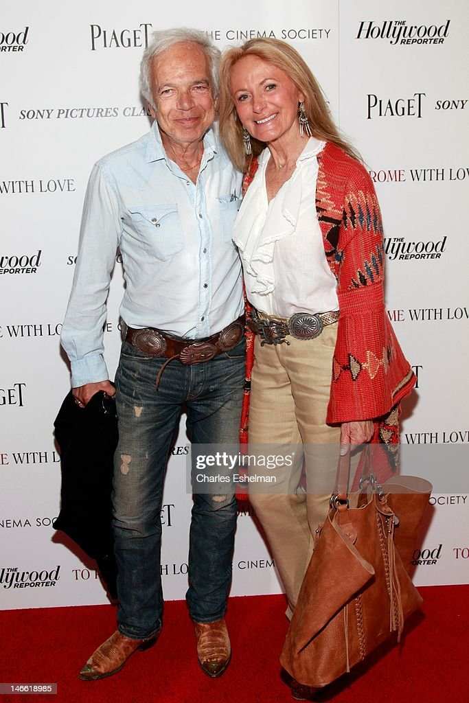 Designer Ralph Lauren and Ricky Anne Low-Beer attend The Cinema Society with the Hollywood Reporter & Piaget and Disaronno screening of 'To Rome With Love' at The Paris Theatre on June 20, 2012 in New York City.