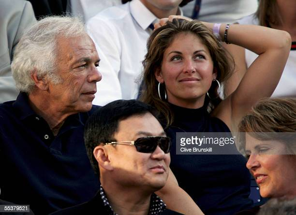 Designer Ralph Lauren and socialite Dylan Lauren watch the men's final between Andre Agassi and Roger Federer of Switzerland at the US Open at the...