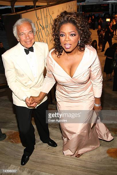 Designer Ralph Lauren and Television talk show host Oprah Winfrey pose inside during the 25th Anniversary of the Annual CFDA Fashion Awards held at...