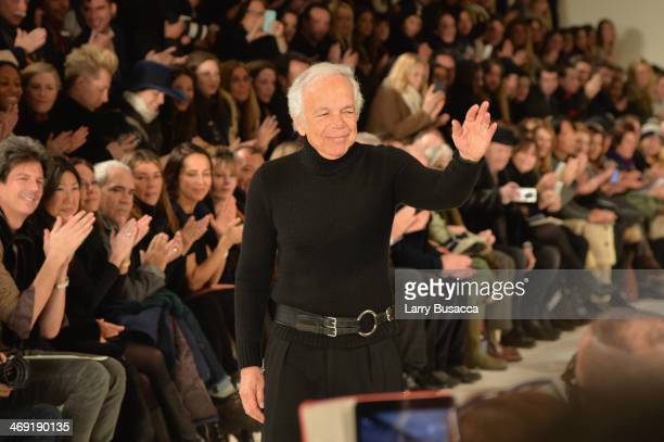 Designer Ralph Lauren attends the Ralph Lauren fashion show during Mercedes-Benz Fashion Week Fall 2014 at St. John Center Studios on February 13,...