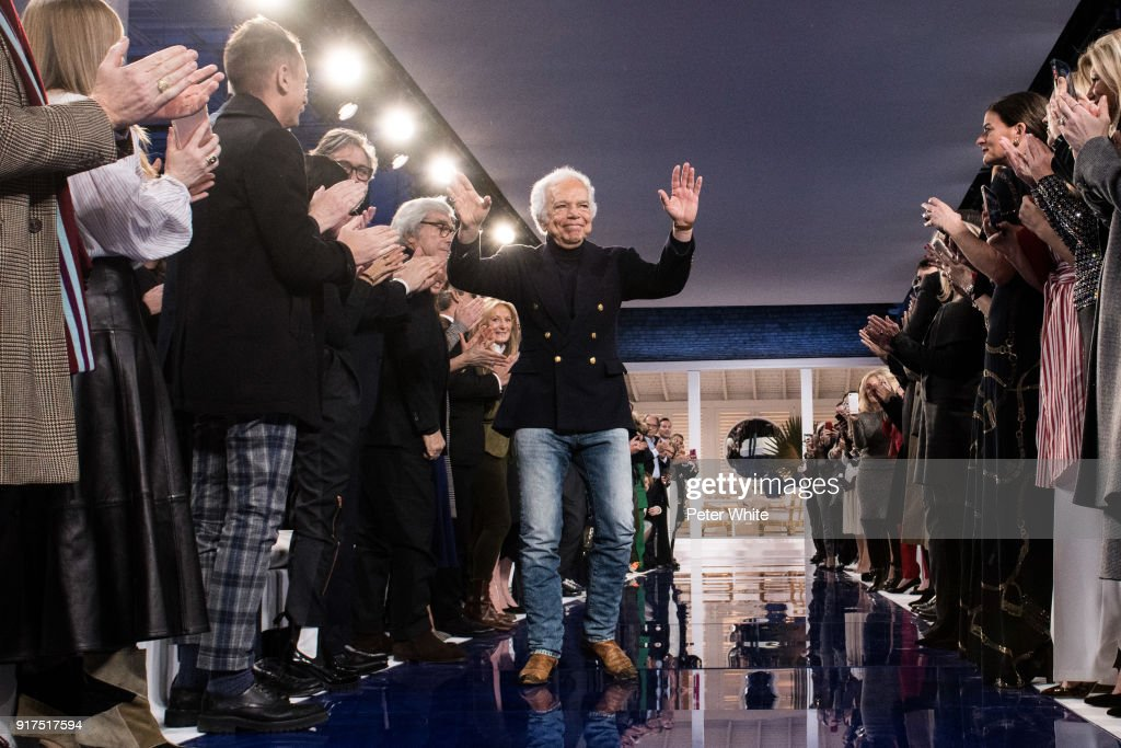 Designer Ralph Lauren greets attendees at Ralph Lauren Spring/Summer 18 fashion show during the New York Fashion Week on February 12, 2018 in New York City.