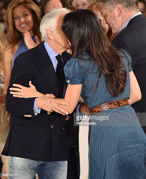 Designer Ralph Lauren greets Hilaria Thomas Baldwin at Ralph Lauren Spring 2016 during New York Fashion Week The Shows at Skylight Clarkson Sq on...